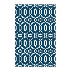 Modern Indoor/Outdoor Rug, Dark Blue and White, 120x180 cm