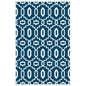Modern Indoor/Outdoor Rug, Dark Blue and White, 150x240 cm