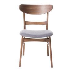 GDFStudio   Helen Mid Century Dining Chair, Set Of 2, Dark Gray/Walnut