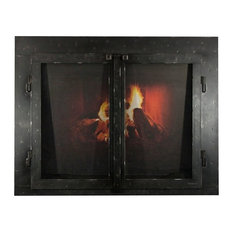 "Iron Fireplace Glass Door with Gate Mesh, 4"" Frame, Natural, 41""x32"""