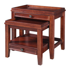 Linon Wander Set of Two Wood Nesting Tables in Cherry by Linon Home Decor Products