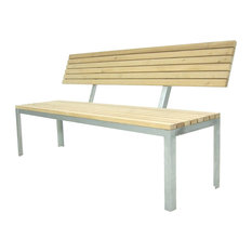 Outdoor Panel Bench, With Backrest