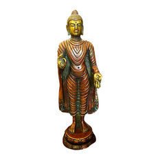 Mogul Interior - Standing Buddha Statue Brass Sculpture Buddhist Figurine Idol Meditation Decor - Decorative Objects And Figurines