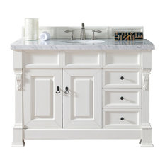 "Brookfield 48"" Cottage White Single Vanity Drawers 2CM Carrara White Marble Top"