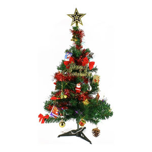 2' Tabletop Artificial Mini Green Christmas Tree With Color Light & Ornaments