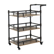 Rustic Three Tier Wood and Metal Serving Cart, Black and Brown