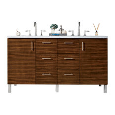"Metropolitan 60"" American Walnut Double Vanity w/ 3cm Arctic Fall Top"