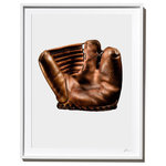 Timothy Hogan Studio - Vintage Wilson Baseball Mitt, Photograph, White Frame, 27''x35'' - Wilson Professional 2-Finger Vintage Baseball Mitt, photographed by Timothy Hogan. Dark shadows, beautiful leather and the unique shape of this piece turn a vintage baseball collectable into a work of art for your wall.  Tim's favorite part about this photograph Look closely on the right side for the text The Ball Hawk.