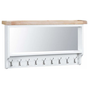 Wall Mounted Coat Rack, White Painted MDF With Oak Top