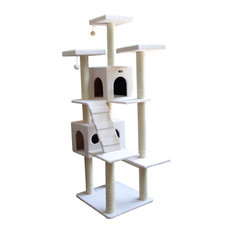 """77"""" Classic Cat Tree with 2 Condos, Ramp, 3 Perches, Multiple Levels"""