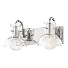 Riley Two Light Bath Light - Polished Nickel Finish - Clear Glass
