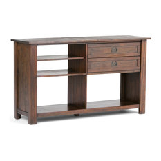 """Monroe Solid Acacia Wood 52"""" W Rustic Console Table, Distressed Charcoal Brown"""