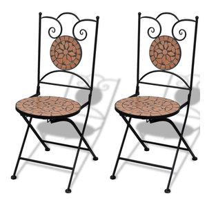 vidaXL 2x Bistro Chair Mosaic Terracotta Outdoor Garden Patio Cafe Furniture