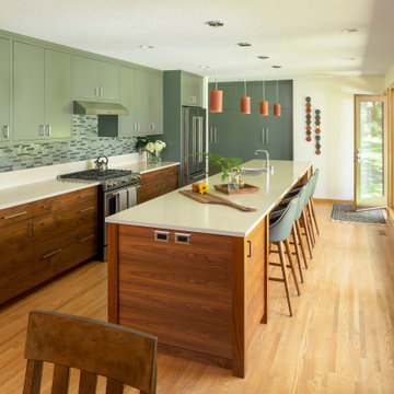 Kitchen Island, cabinets and workspace