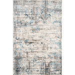 """Momeni - Juliet Rug, Blue, 8'6""""x11'6"""" - The Juliet Collection will enhance your decor with a unique vintage appeal. It has been crafted with durable polypropylene for longevity, and touches of viscose for luster and softness. The patterns are inspired by erased traditional oriental patterns. A trend-conscious color palette with light airy colors is used to create a peaceful and cool home. Power-loomed in Turkey, this romantic collection will adorn any floor."""