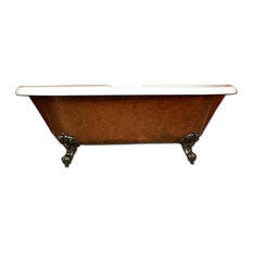 "70"" Copper Bronze Acrylic Clawfoot Tub, Without Faucet Holes"