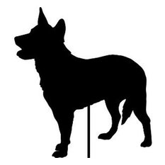 Australian Cattle Dog Garden Art, Black, Plant Stake