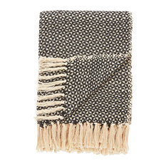 National Geometric by Jaipur Living Nile Black/Beige Geometric Throw, 50x60