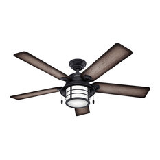 "Hunter Fan Company 54"" Key Biscayne Weathered Zinc Ceiling Fan With Light"