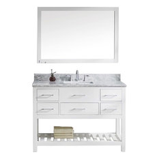 "Caroline Estate 48"" Vanity Set, White, White Marble, Without Faucet, Square"