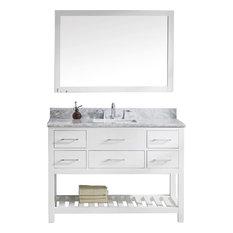 "Caroline Estate 48"" Vanity Set, White, White Marble, Without Faucet, Square"