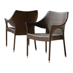 GDFStudio   Del Mar Outdoor Brown Wicker Chairs, Set Of 2   Outdoor Lounge  Chairs