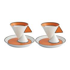 Vista Alegre Jazz Set 2 Porcelain Espresso Coffee Cups and Saucers