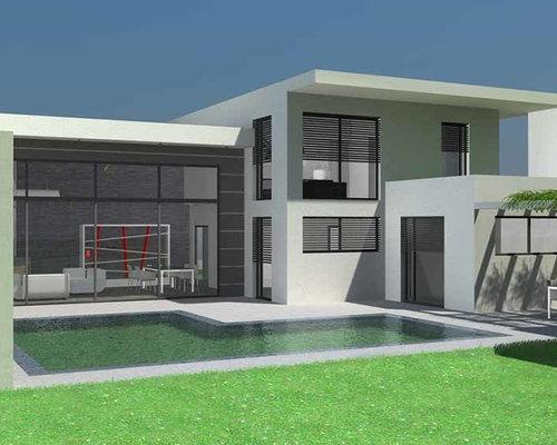 saveemail maison contemporaine toit terrasse et casquette bton - Maison Moderne Beton