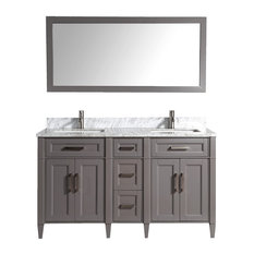"60"" Vanity Set With Carrara Marble Stone, Gray, Standard Mirror"