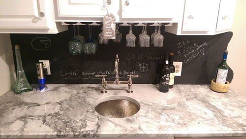 Making An Oak Wet Bar White And Adding Chalkboard Backsplash New Chalkboard Paint Backsplash