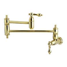 Kingston Brass Wall Mount Pot Filler Kitchen Faucet, Polished Brass