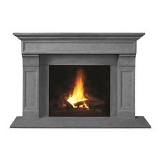 Fireplace Stone Mantel 1111.511 With Filler Panels, Gray, With Hearth Pad