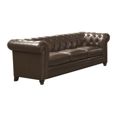 Coaster Roy Traditional Button-Tufted Sofa With Rolled Back and Arms, Cappuccino