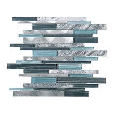 "11.75""x12.75"" Zayn Mixed Mosaic Tile Sheet, Gray and Blue"