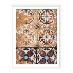"""""""Moroccan Tiles"""" Geometric Art Print, White Framed, 40x50 cm"""