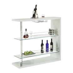 Monarch Specialties   Monarch Specialties 48x16 Rectangular Bar Table In  White Glossy   Wine And Bar