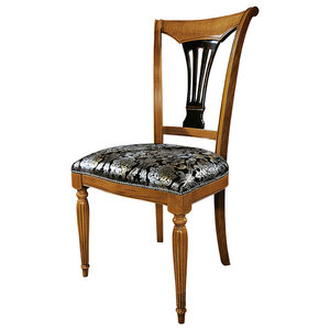 Dining Chair With Cherry and Distressed Black Finishes, Without Armrests