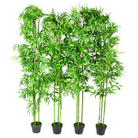 Set of 4 Bamboo Artificial Home Decor 75""