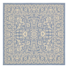 Unique Loom Blue Allover Outdoor 6' 0 x 6' 0 Square Rug