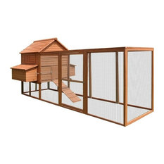 "ALEKO Pet Poultry Hutch/Coop Wood, 143.7""x68.5""x66.5"", Red"