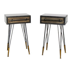 Pair of Retro Industrial Metal Bedside Tables