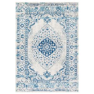 Lukachukai Vintage-Style Distressed Blue Area Rug, 2'x3' Rectangle
