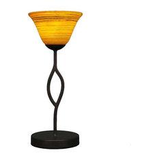 """Revo 7"""" 1-Light Mini Table Lamp Dark Granite Firr Saturn Glass"""