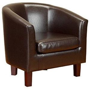 Modern Stylish Armchair Upholstered, Bonded Leather, Solid Wooden Legs, Brown
