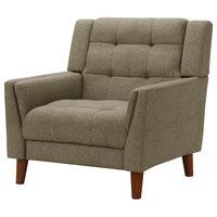 GDF Studio Evelyn Mid Century Modern Fabric Arm Chair, Mocha/Walnut
