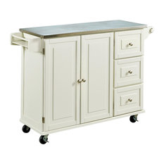 Home Styles Liberty Kitchen Cart with Stainless Steel Top in White
