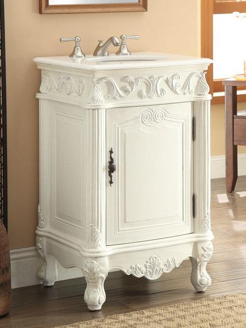 21 inch Antique White Finish Bathroom Vanity - Bathroom Vanities And Sink  Consoles - 18 To 24 Inches Bathroom Vanities