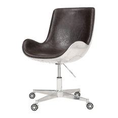 Abner Swivel Office Chair, Distressed Java