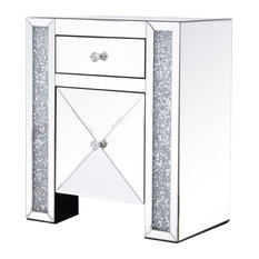 Elegant Decor Modern 1 Door 21.5-inch Silver Crystal Mirrored Nightstand