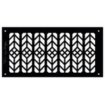 "Architectural Grille - Frank Lloyd Wright Collection 6""x12"" Alumnium Floral Grille, Black Matte - The design of this Decorative HVAC Grille Cover is adapted from the 'Tulip Motif' featured in the Leaded Glass Windows throughout the Upper Stories of The Geneva Inn."